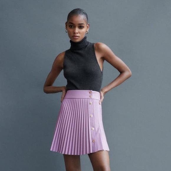 Purple Zara Faux Leather Skirt